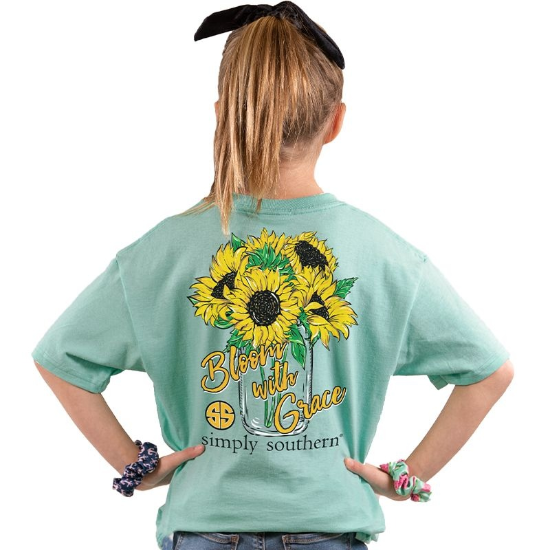 Simply Southern Collection Youth Bloom With Grace Short Sleeve T-Shirt Sea