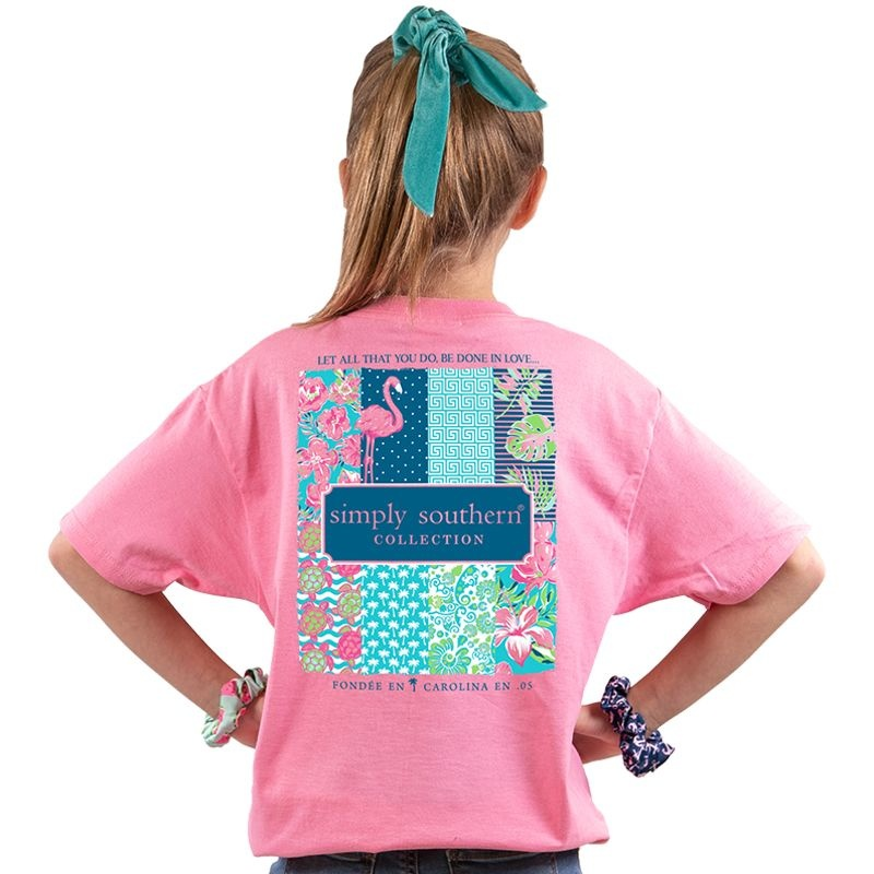 Simply Southern Collection Youth Preppy Logo Short Sleeve T-Shirt Flamingo