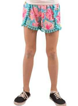 Simply Southern Collection Youth Pom Pom Shorts Tropic