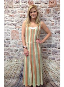 Knit Striped Scoop Neck Tank Maxi Dress