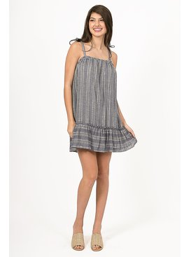 Sleeveless Linen Dress Offering Tie Straps And Ruffled Hem