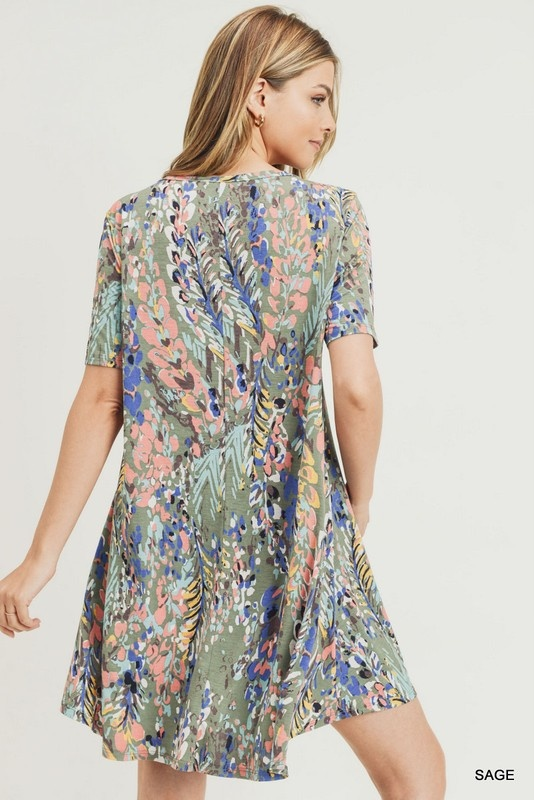 Jodifl Watercolor Floral Print A-Line Dress