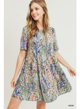 Jodifl Watercolor Floral Print A-Line Dress