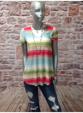 Honeyme Striped Short Sleeve Top