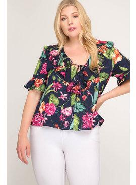 She & Sky Floral Print Blouse