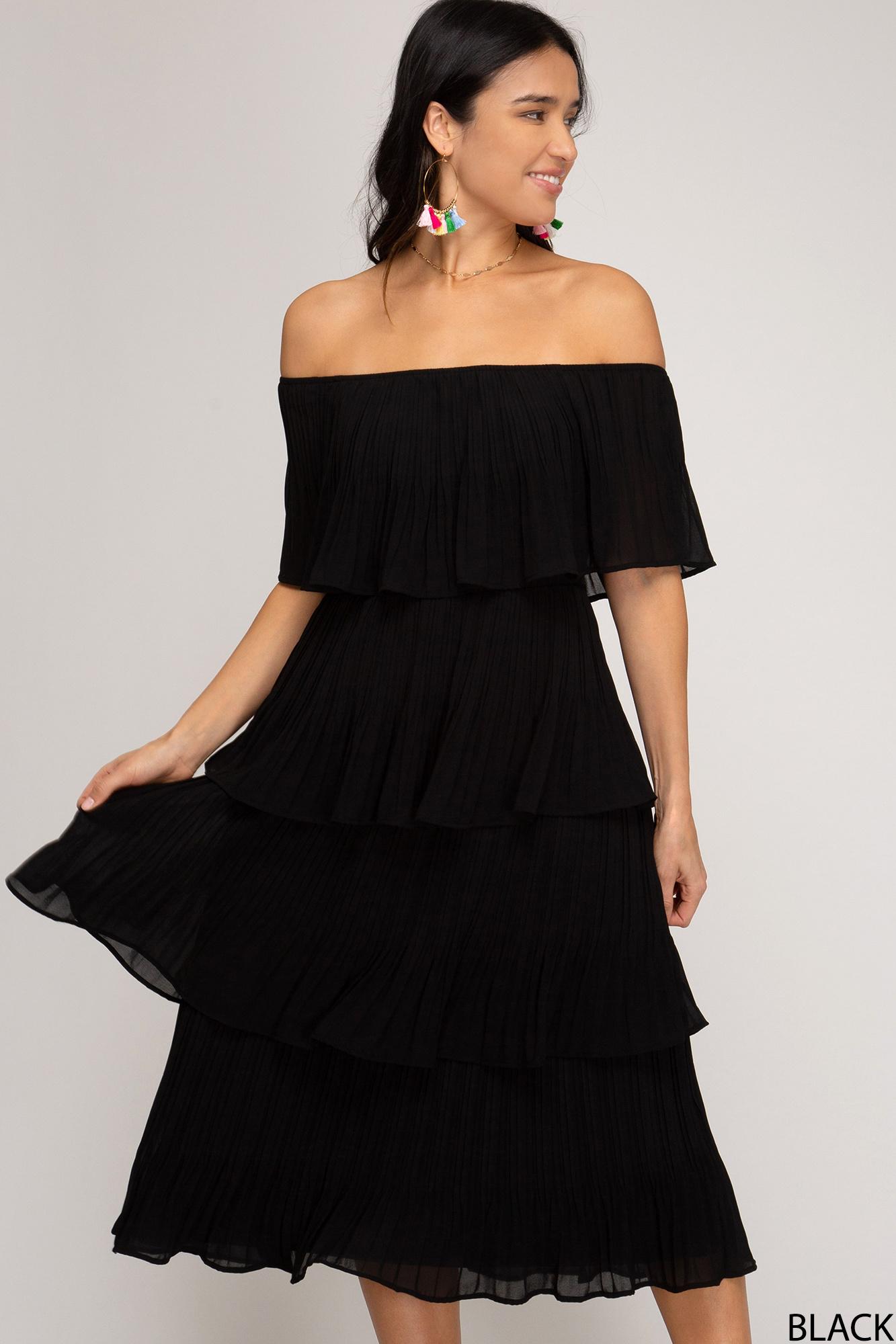 She & Sky Off Shoulder Midi Dress