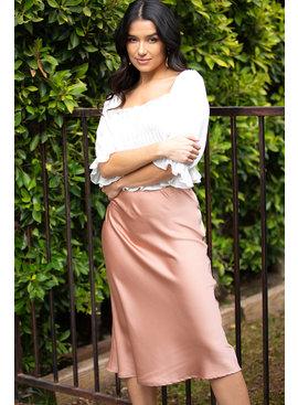 SHEANDSKY Woven Midi Skirt