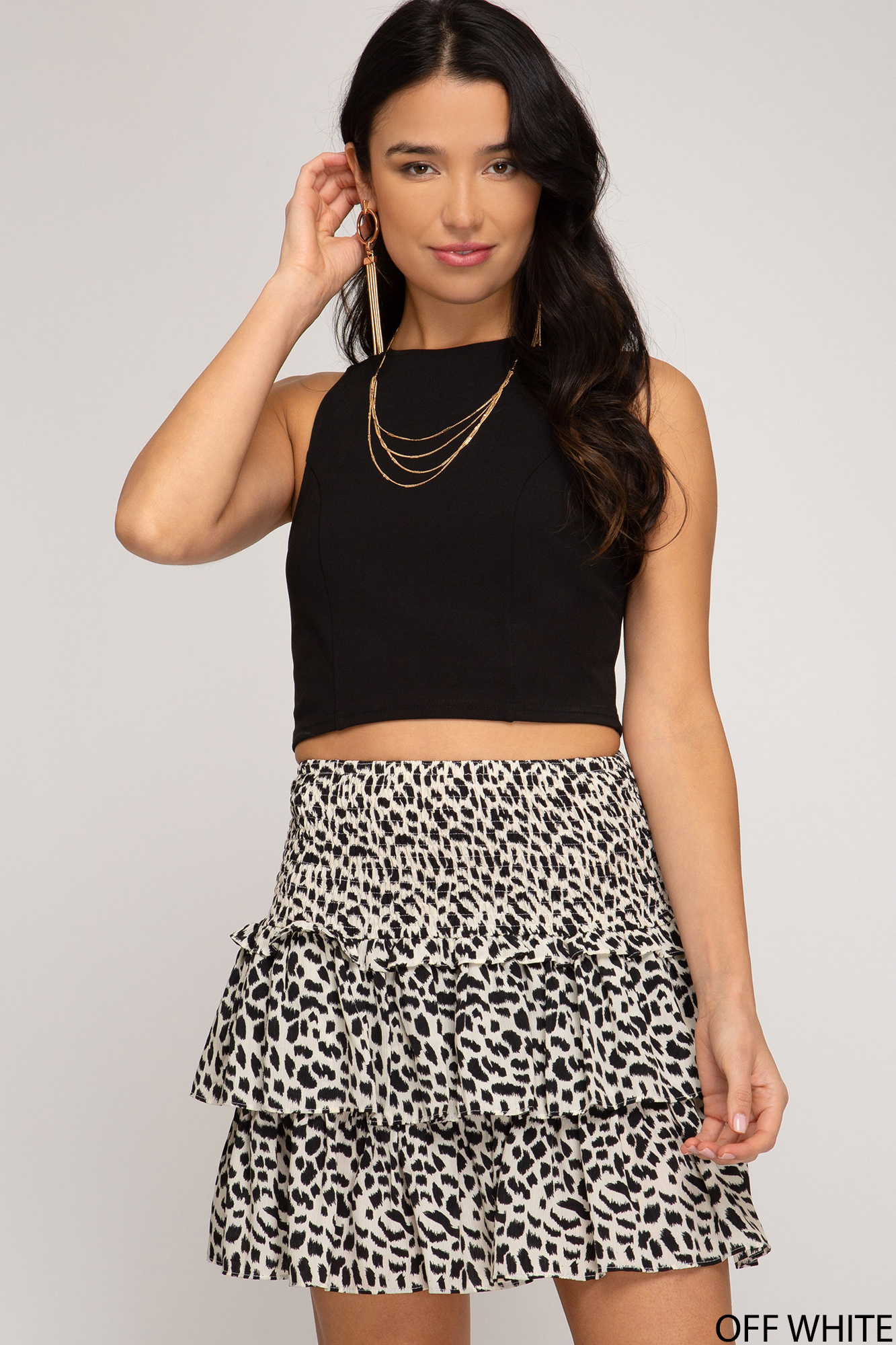 SHEANDSKY Woven Flounce Mini Skirt