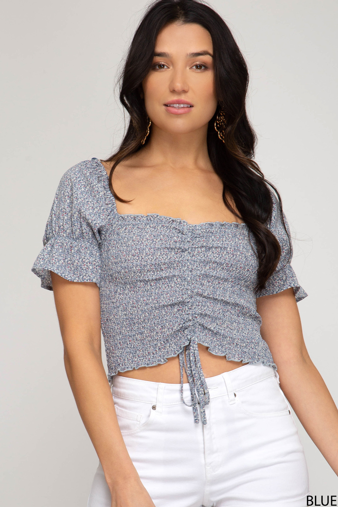 SHEANDSKY Puff Sleeve Woven Top