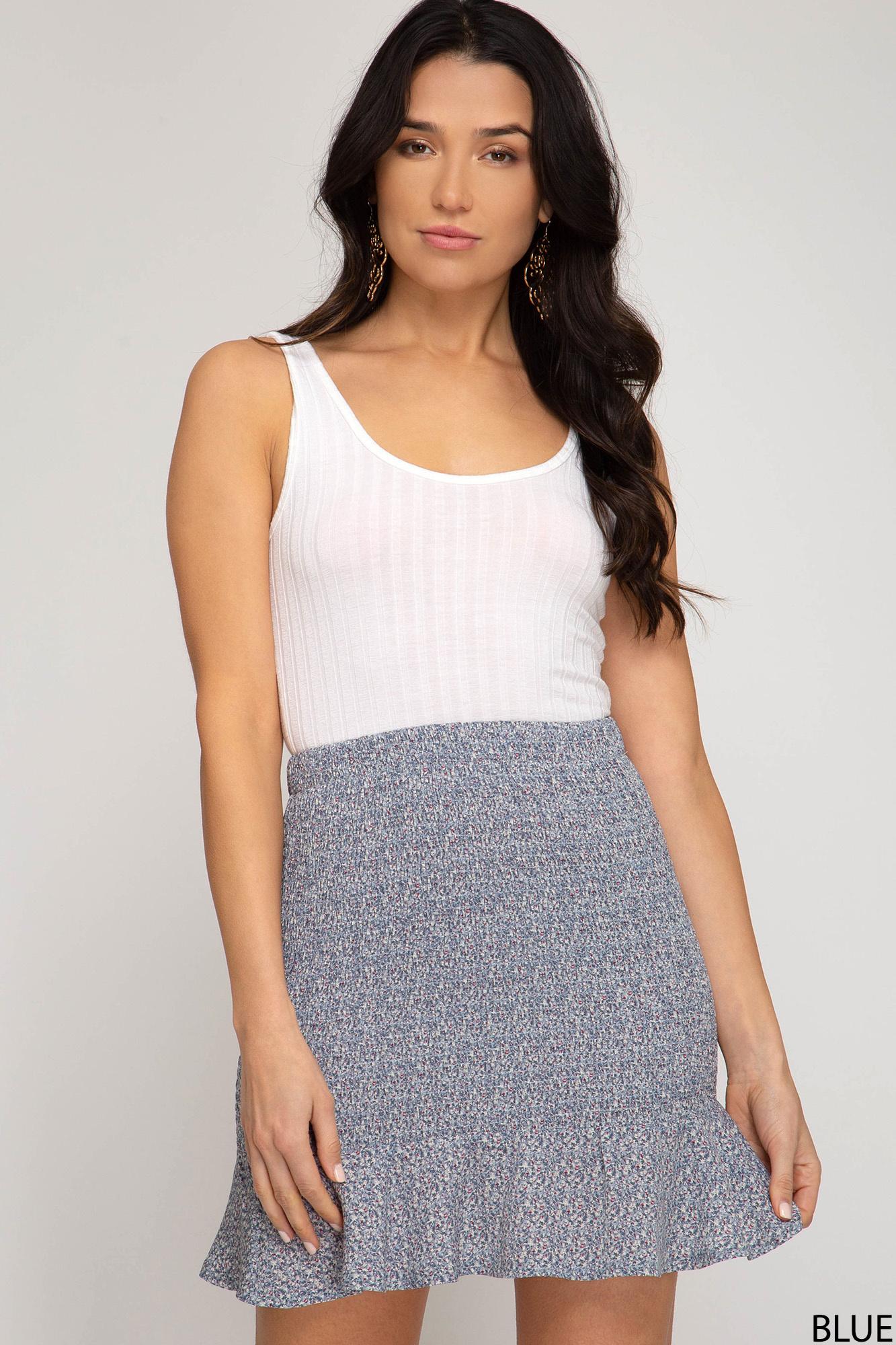 She & Sky Woven Smocked Mini Skirt