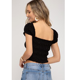 SHEANDSKY Smocked Knit Crop Top