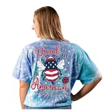Simply Southern Collection Youth Proud To Be An American Short Sleeve T-Shirt - Tie dye