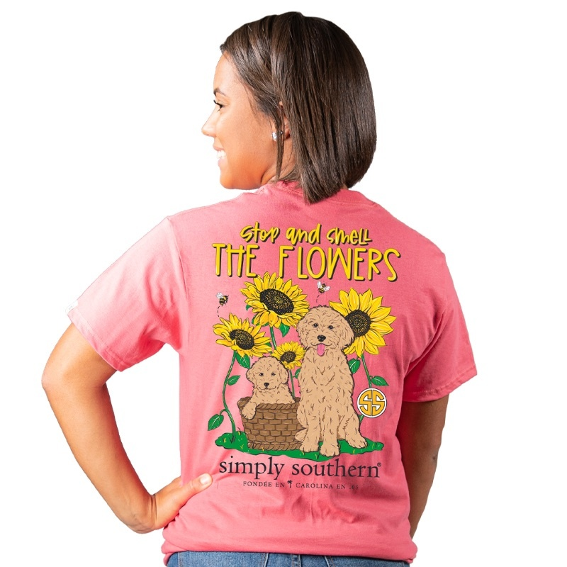 Simply Southern Collection Stop And Smell The Flower SS T-Shirt - Begonia