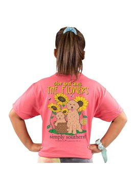 Simply Southern Collection Youth Stop And Smell The Flower SS T-Shirt - Begonia