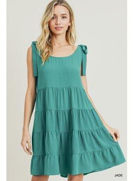 Jodifl Solid Tiered Shoulder Tie Baby Doll Dress