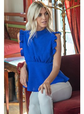 Glam Sleeveless Ruffle Blouse