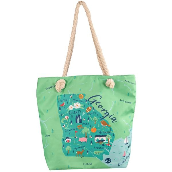 Simply Southern Collection STATE OF GEORGIA CANVAS TOTE BAG