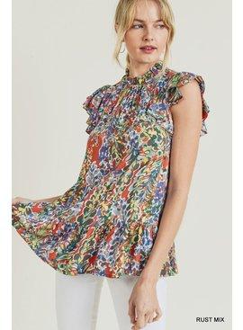 Jodifl Watercolor Floral Print Ruffle Top