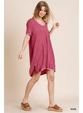 Umgee Washed V-Neck Tee Dress