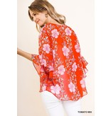 Umgee Floral Print Blouse with Button Down and Ruffled Sleeves