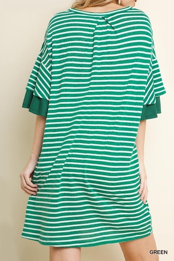 Umgee Striped Pocket Tee Dress