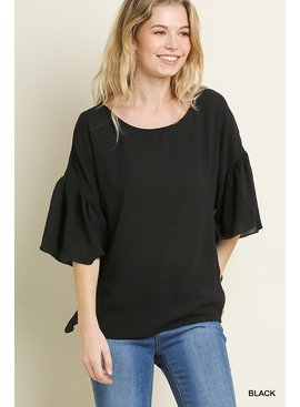 Umgee Basic Ruffle Sleeve Top