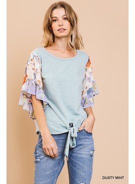 Umgee Mixed Floral Print Top