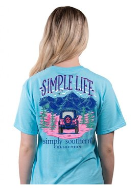 Simply Southern Collection Simple Life Short Sleeve T-Shirt -Pool