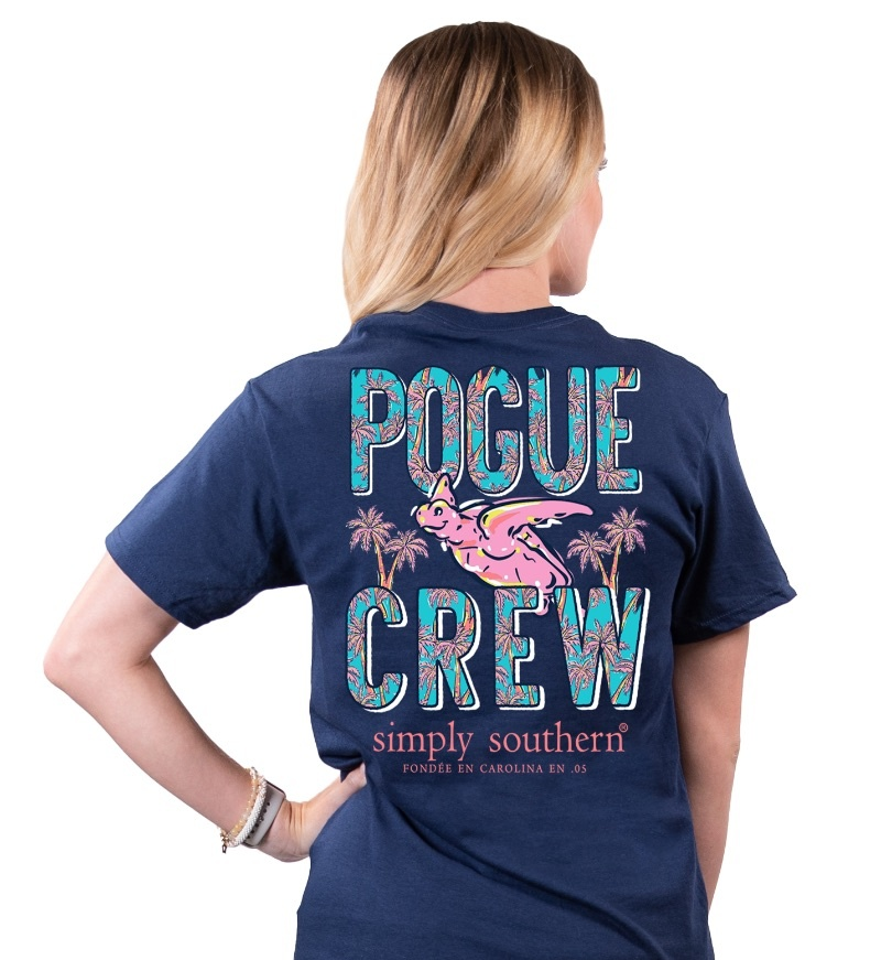 Simply Southern Collection Pogue Crew Short Sleeve T-Shirt -Navy