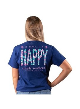 Simply Southern Collection The Beach Is My Happy Short Sleeve T-Shirt -Navy