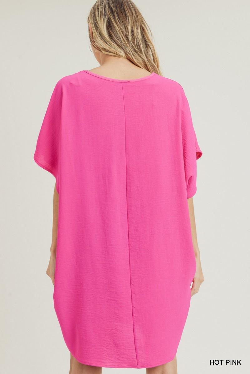Jodifl Solid Boxy Dress with Pockets