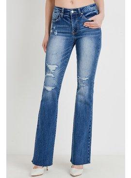 Tricot by C'est Tol Mid Rise Destroy Flare Jeans