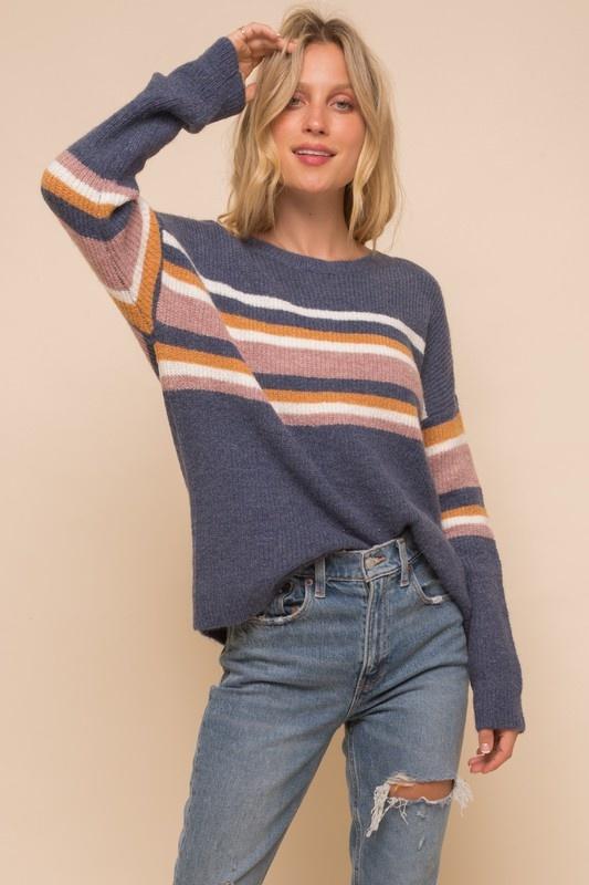 Stripe Mix Soft Pullover Sweater