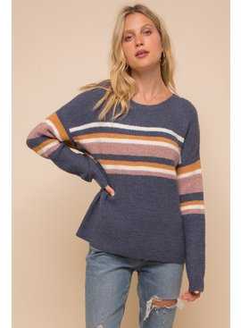 Stripe Mix Soft Pullover Sweater