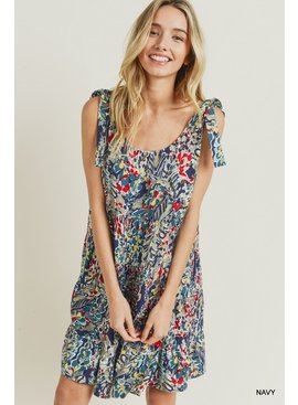 Jodifl Watercolor Floral Print Tiered Shoulder Tie Dress