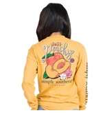 Simply Southern Collection Just Peachy Long Sleeve T-Shirt -Mustard