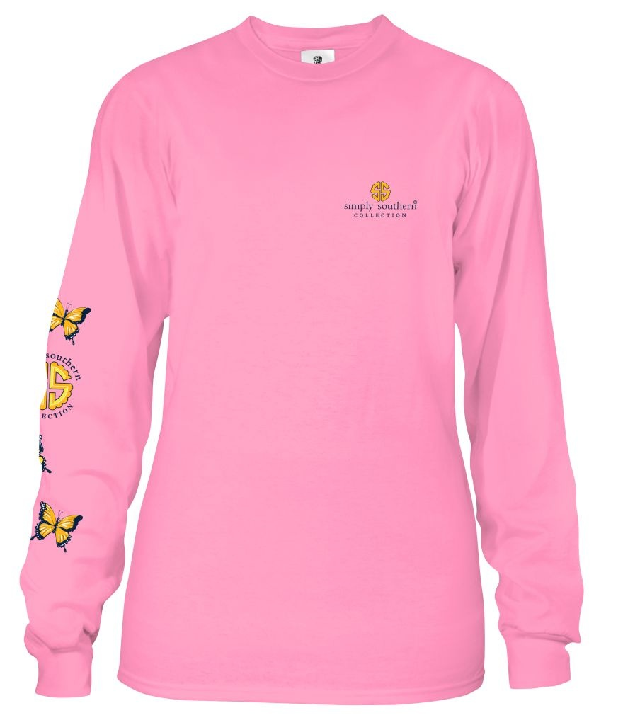 Simply Southern Collection Youth - God Within Her Long Sleeve T-Shirt - Flamingo