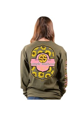 Simply Southern Collection Bloom Logo Long Sleeve T-Shirt - Moss