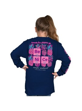 Simply Southern Collection Youth -Be nice Long Sleeve T-Shirt - Midnight