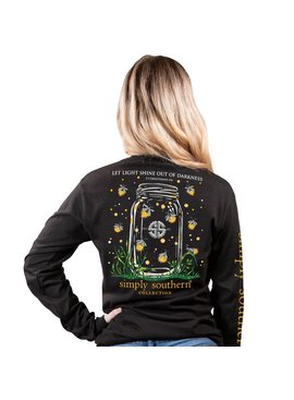 Simply Southern Collection Let Light Shine Long Sleeve T-Shirt - Black