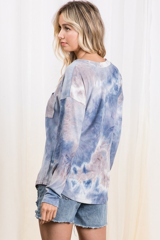 Tie Dye Print V neck Basic Top