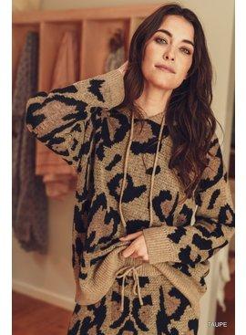 Jodifl Leopard Print Knit Hoodie