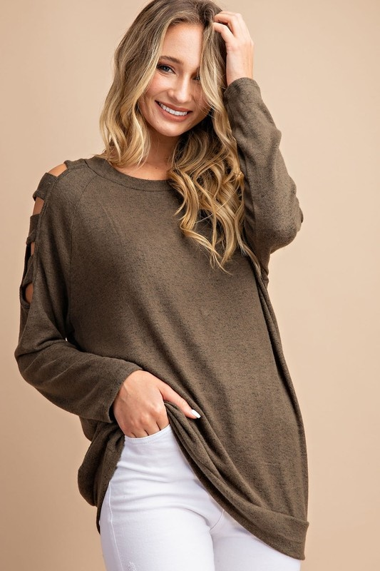 Cutout cold shoulder long sleeve