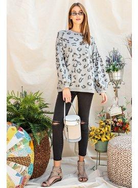 Leopard Print Pullover Sweatshirt