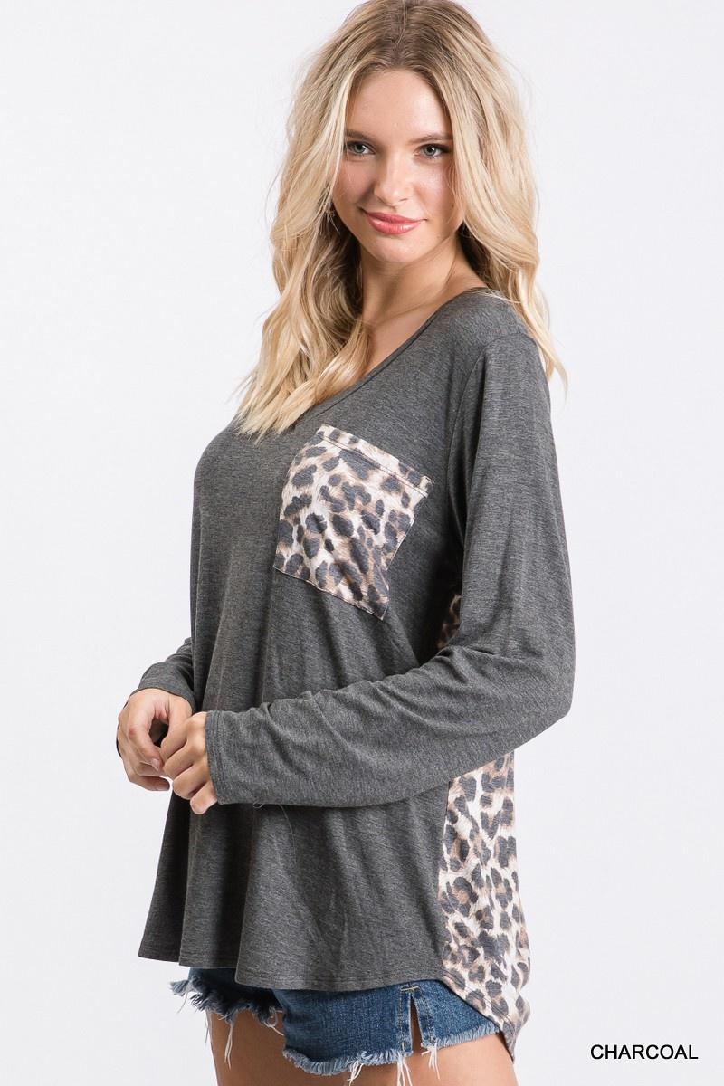 Jodifl Solid Leopard Print Top