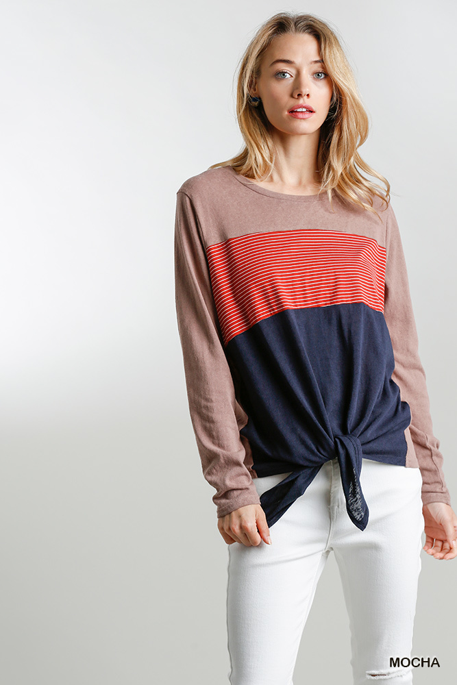 Umgee Colorblock Round Neck Top