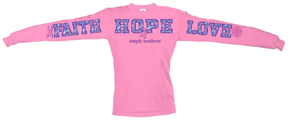 Simply Southern Collection Faith Hope Love L/S Tee Flamingo