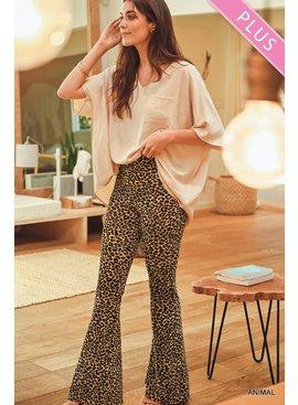 Jodifl Plus Size Leopard Print High Waist Flared Leggings