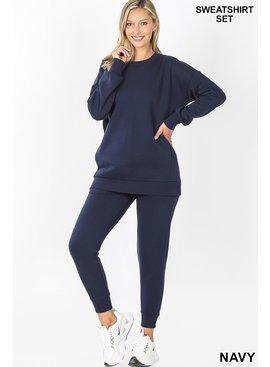 Round Neck Sweatshirt & Sweatpants Set