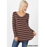 Striped V-Neck Dolphin Hem Top